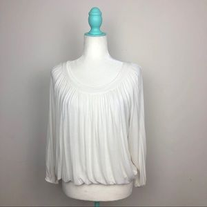 Free People White Gathered Long Sleeve Top